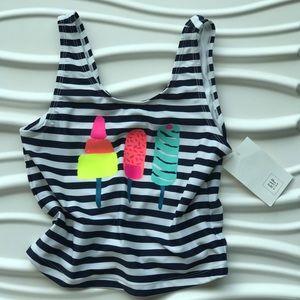 ... Girls Gap kids blue white striped swim tank ... 758fed3c3